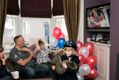 GB. England. Walsall. The Black Country. The Royal wedding between Kate Middleton and Prince William. Residents at home on Westbourne Street. 2011.